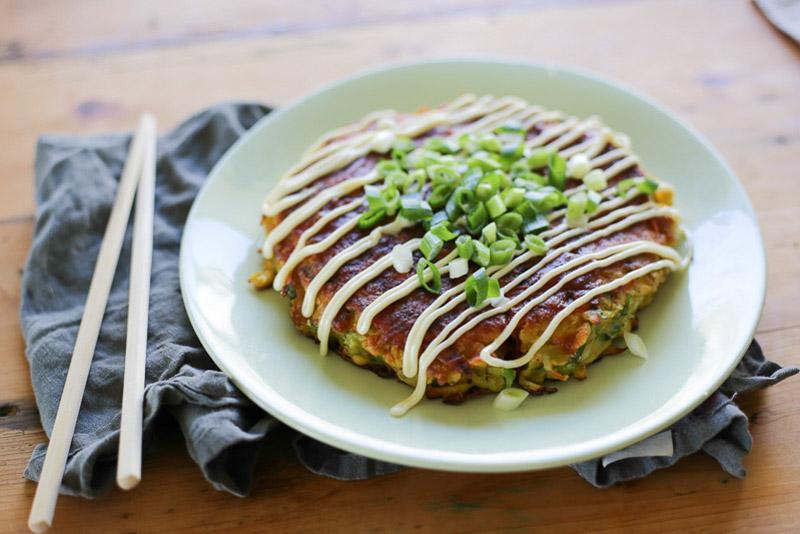 Vegetarian Okonomiyaki (Japanese Pancake)