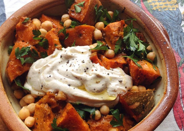 Spiced Pumpkin with chickpeas and tahini
