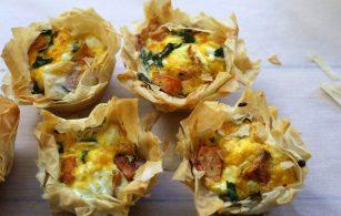 Sweet Potato and Feta Filo Tarts