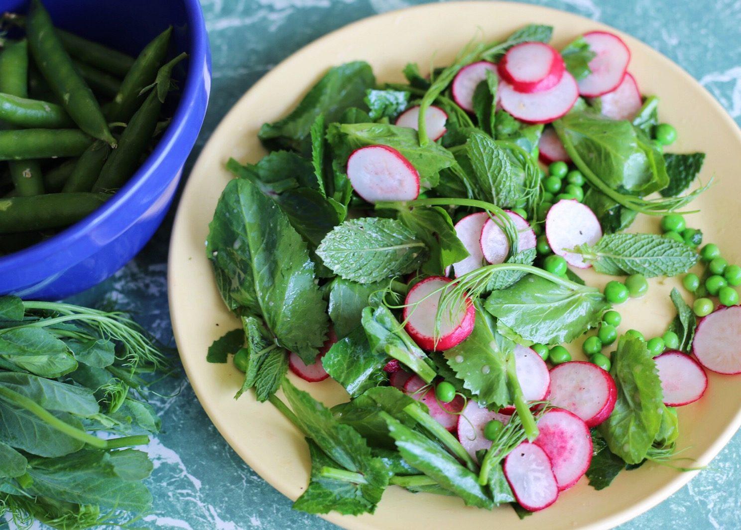 Double pea, mint and radish salad