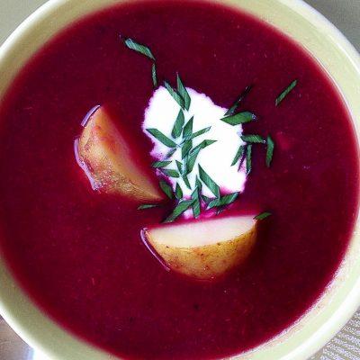 borscht and a hot potato