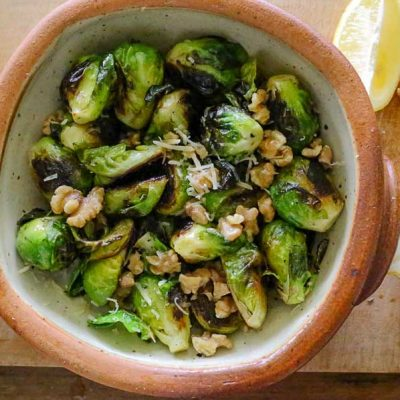 panfried brussel sprouts with walnuts