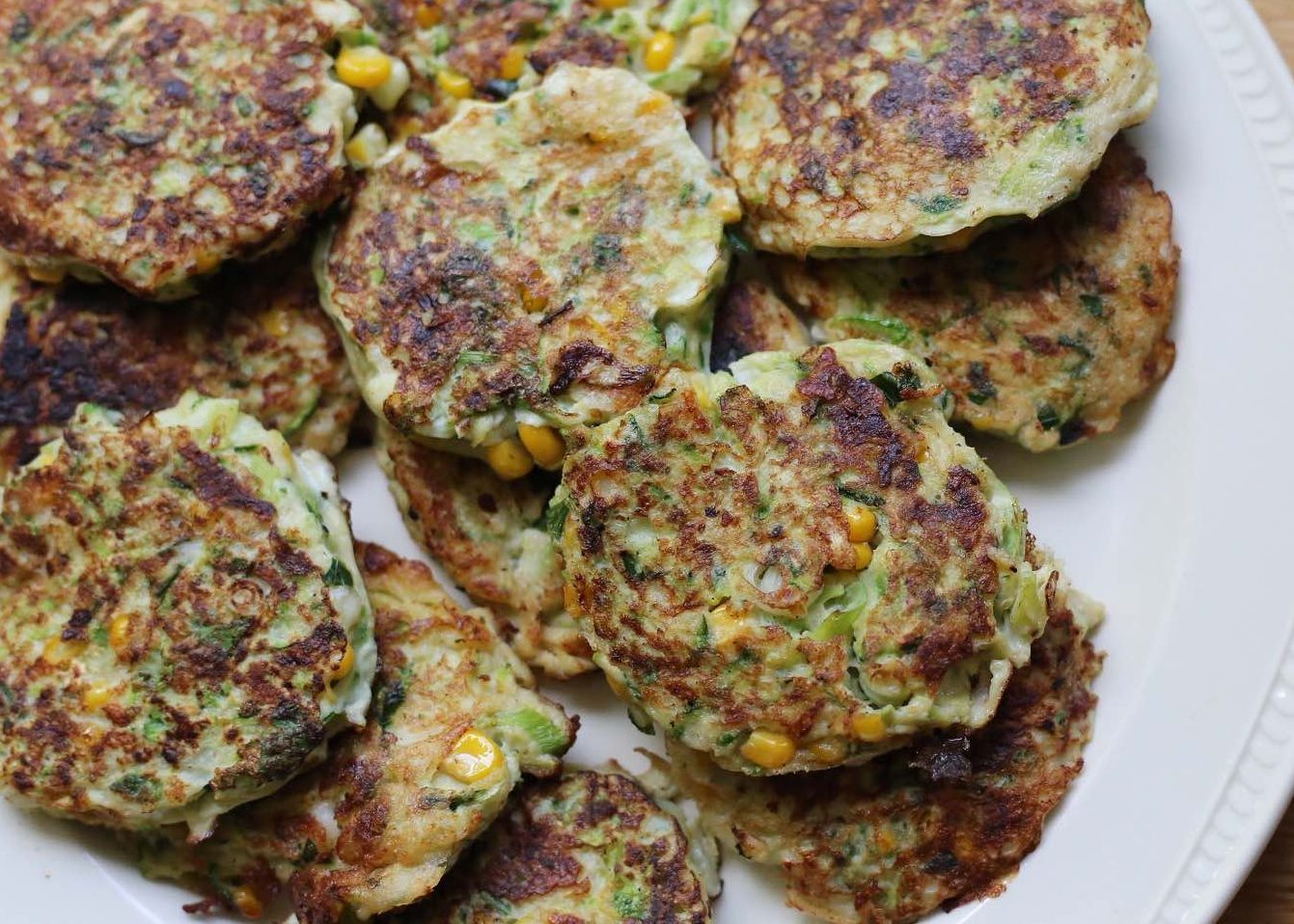 Zucchini, Corn and Haloumi Fritters