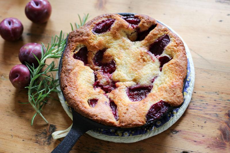 Quick plum and rosemary cake