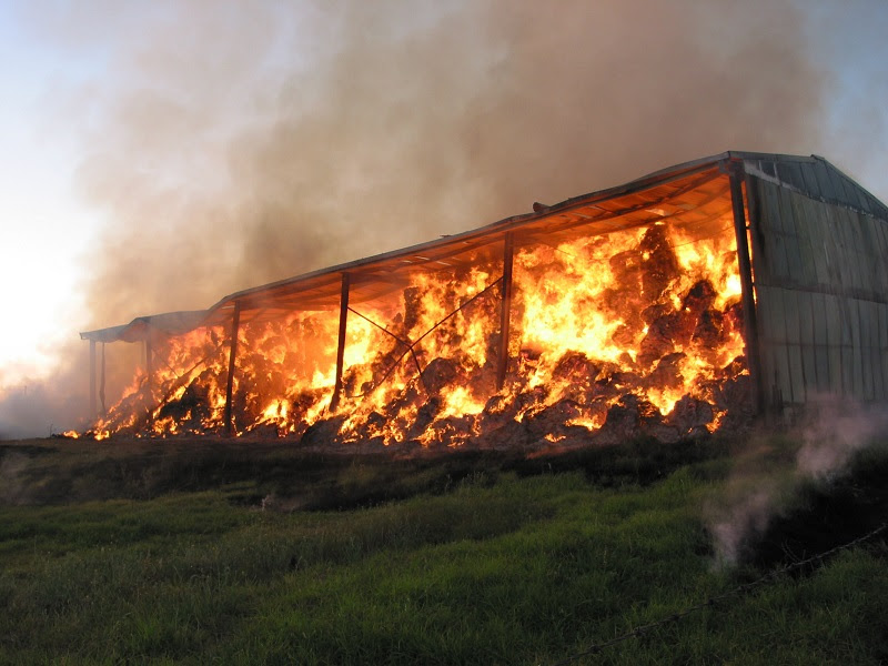 Farmer's feed shed on fire