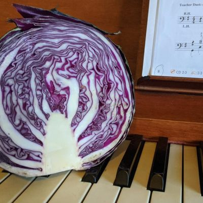 Hello Vegetable - cabbage and piano