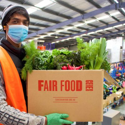 Prasad and veggies at the Fair Food warehouse