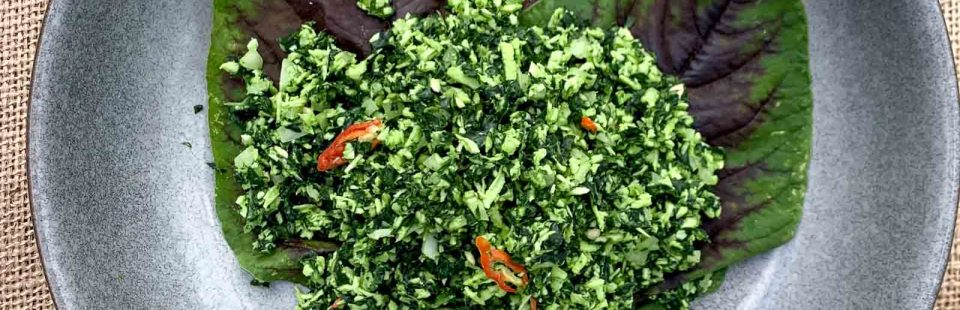 Huge thanks to Island Home for sharing this Sri Lankan kale and coconut salad with us!