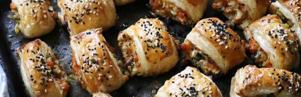 When you just need a tray of party-sized, veggie sausage rolls.